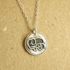 Elephant Necklace, Mother and Baby, Fine Silver, Sterling Silver Chain. $55.00, via Etsy.
