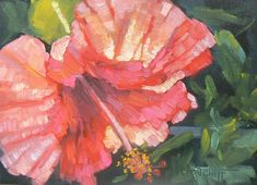 Flower Giclee Print on Canvas Hibiscus Art by CarolSchiffStudio