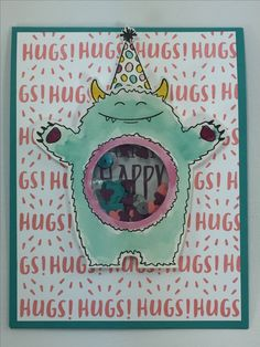 Monster shaker birthday card using Stampin' Up!'s Yummy in my Tummy stamp set.