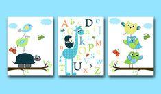 Childrens Art Kids Wall Baby Boy Nursery Room Decor Print Set Of 3 Owl Alphabet Giraffe Blue Green