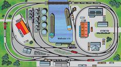 """Hochbetrieb im Hafen (H0): Etwas komplizierter gestrickt sind die Gleisanlagen der oben abgebildeten Anlage, auch wenn das Hafenbecken kompakter und die Anschlussgleise kürzer sind. Eine Klapp- oder Hubbrücke überquert im hinteren Anlagenbereich das Hafenbecken, welches angenommermaßen dahinter in einen vorbeilaufenden Kanal mündet. Umfahrgleise ermöglichen einen reibungslosen Rangierbetrieb. Ein Wartebzw. Aufstellgleis im linken Anlagenbereich bildet den """"Abstellbahnhof"""". Kleine…"""