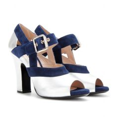 mytheresa.com - Leather and suede Mary-Jane pumps - Luxury Fashion for Women / Designer clothing, shoes, bags