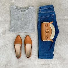 Julya (@capsullette) • grey sweater + blue jeans + cognac flats #capsullette