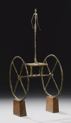 """""""Chariot"""" by Alberto Giacometti. Conceived 1950, cast 1951-52, painted bronze on wooden base. Set for auction at Sotheby's NYC on 4 November 2014. Pre-auction estimate is available only upon request. It has been reported that this sculpture is anticipated to bring $100 Million Dollars USD. Wow! Sold at  $100,965,000. Again - WOW!"""