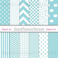 Turquoise Blue Digital Paper Baby Printable Scrapbook Paper Boy aqua star chevron checkered polka dot cloud stripe patterns Instant download by StarFlowerStreetDA