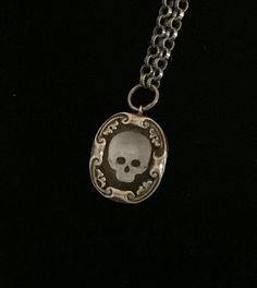 antique french sacred memento mori skull amulet necklace $280.00 USD by swordofthespirit, based in California and selling on Etsy