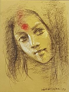 """For Sale on - Painting of Woman as Devi-Goddess, Third Eye, Bengal By Indian Art """"In Stock"""", Paper, Conté by Sanatan Dinda. Offered by Gallery Kolkata. Face Pencil Drawing, Bengali Art, Abstract Face Art, Mother Goddess, Indian Artist, Goddess Art, Indian Paintings, Durga, Installation Art"""