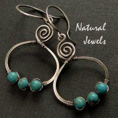 925 Sterling Silver Earrings TURQUOISE TRINITY