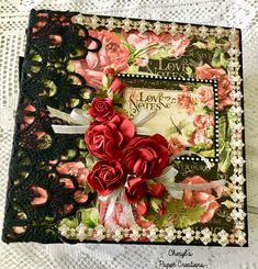 """Hello everyone! I've just completed a new album made with Graphic """"Love Notes"""" papers. It would be a perfect album for a Valentine's Da. Mini Scrapbook Albums, Mini Albums, Valentine Day Gifts, Valentine Cards, Handmade Journals, Graphic 45, Note Paper, Love Notes, Paper Crafts"""