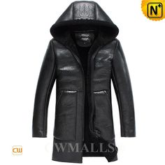 CWMALLS® Black Sheepskin Parka for Men CW838005 - Shop quality black sheepskin parka for men, it can protect you from the severe coldness in winter with the natural sheepskin shearling materials, windproof and handsome, the hooded sheepskin coat is a fantastic selection for yourself or your lover.