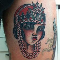 girl's head retro style traditional tattoo - Traditional tattoos