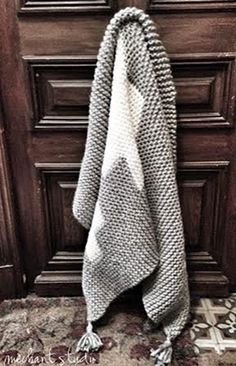 Grey wool blanket with white crosses by MechantStudio on Etsy: