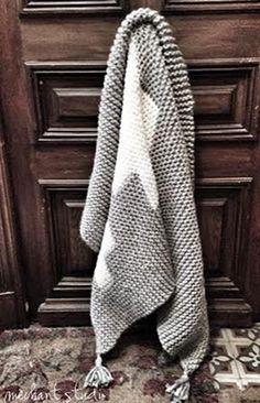 Grey wool blanket with white crosses by MechantStudio on Etsy