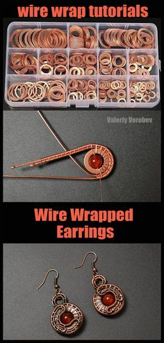 Jewelry making from copper wire. How to make wire wrapped Earrings step by step. Jewelry making from copper wire. How to make wire wrapped Earrings step by step. Diy Jewelry Rings, Diy Jewelry To Sell, Wire Jewelry Making, Jewelry Making Tutorials, Beaded Jewelry, Handmade Jewelry, Earrings Handmade, Jewlery, Wirework Jewelry Tutorials