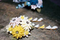 つまみ細工 菊と水仙