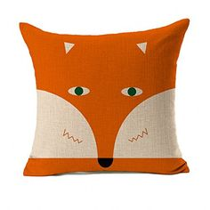 Orange Abstract Cute Fox Design Home Decor Design Throw Pillow Cover Pillow Case 18 x 18 Inch Cotton Linen for Sofa *** Check out this great product. Note: It's an affiliate link to Amazon