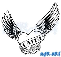 'Faith' Heart with Wings: Tattoo Design by AVRART