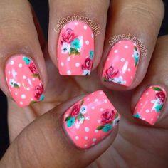 Neon Pink + Polka Dot Floral Nail Design