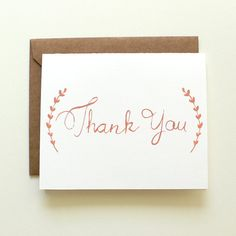 Thank You Notes - Wedding Thank You - Set of 8 Folded Cards with Envelopes - Gold Laurel Branches - Graduation Thank You