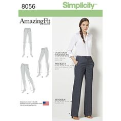 Miss and Plus size Amazing Fit wide-leg pants in full length, cropped and to the knee shorts that feature fly front zip and separate pattern pieces for slim, average and curvy fit. Simplicity sewing pattern.