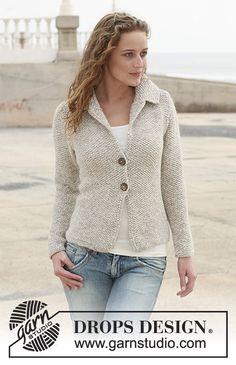 Giacchino DROPS a maglia a grana di riso in Alpaca con colletto. Taglie: dalla S alla XXXL.