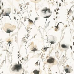 Lo by Sandberg - Sepia / Charcoal : Wallpaper Direct Wallpaper Series, M Wallpaper, Wallpaper Online, Flower Wallpaper, Pattern Wallpaper, Sandberg Wallpaper, Murs Beiges, Tableaux D'inspiration, Charcoal Wallpaper