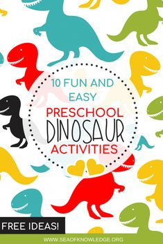 These fun dinosaur activities will engage even the most reluctant kids! I've researched and gathered the most exciting games and activities you can use with your preschoolers to incorporate fun dinosaur activities! - Kids education and learning acts Dinosaur Theme Preschool, Dinosaur Crafts, Preschool Learning Activities, Preschool Science, Preschool Themes, Toddler Activities, Preschool Crafts, Indoor Activities, Summer Activities
