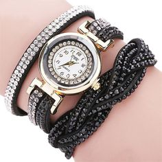 Fashion Metal Watch Bracelets for Womens Rhinestone Analog Quartz