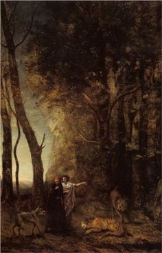 Dante and Virgil: 1859 by Jean Baptiste Camille Corot (Museum of Fine Arts, Boston, MA) - Barbizon School/Realism Dante Alighieri, Henri Fantin Latour, Canvas Art Prints, Oil On Canvas, Almeida Junior, Barbizon School, Jean Baptiste, Art Database, Art Graphique
