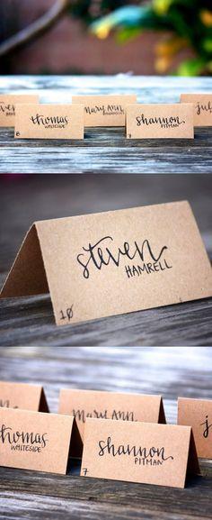 Black Calligraphy with Kraft Paper Wedding Escort Cards / http://www.himisspuff.com/kraft-paper-wedding-decor-ideas/2/