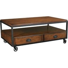 Hammary Baja Distressed industrial coffee table with drawers and casters (Dimensions: 48W x 30.5D x 19.5H in.).