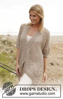 """Knitted DROPS jacket with lace pattern in """"Lin"""". ~ DROPS Design"""