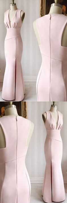Mermaid Deep V-Neck Sleeveless Pearl Pink Long Prom/Evening Dress - 2020 New Prom Dresses Fashion - Fashion Of The Year Trendy Dresses, Elegant Dresses, Vintage Dresses, Beautiful Dresses, Nice Dresses, Casual Dresses, Short Dresses, Pink Evening Dress, Mermaid Evening Dresses