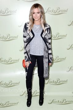 Seen on Celebrity Style Guide: Ashley Tisdale wore the Lucky Brand Aztec Drapey Wrap as she arrives at the Lucky Brand Beverly Hills store opening on October 29, 2013 in Beverly Hills, California
