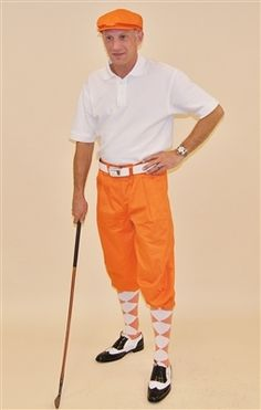 Kings Cross Mens Golf Knickers Outfit - Orange Knickers with White Polo 1c539537c8c1