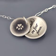 Love Walks on Four Paws Necklace by Lisa Hopkins Design- this would be a perfect gift for alicia