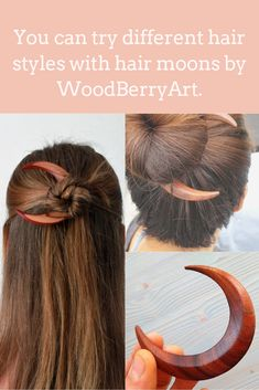 Hairstyles with a moon hair fork. Wooden moon hair accessories by WoodBerryArt. # Hairbun thickhair # longhair # hairstick # h Long Face Hairstyles, Trending Hairstyles, Bun Hairstyles, Updo Hairstyle, Natural Hairstyles, Long Wavy Hair, Grunge Hair, Hair Sticks, Brown Hair Colors