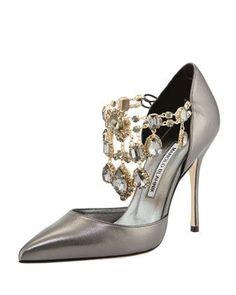 Manolo Blahnik Zullin Crystal-Draped d'Orsay Pump §1,325 Spring 2014 #Brautschuhe #Wedding #Shoes