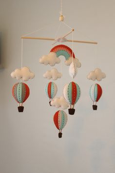 coral and aqua hot air balloon mobile!!