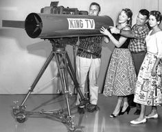 Al Smith, Bonnie Stoa, Earl Thoms and Nola Martin are pictured inspecting a telelens KING-TV used on closeups of the Seafair Trophy Race in August Photo: P-I File / SL Al Smith, Red Skelton, Ancient History, North America, Seattle, The Past, Ham Radio, King, Electronics