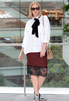 Long Bob - Chambray Shirt - White Shirt - Skinny Scarf - Midi Skirt - Knots of Velvet  A PIECE OF ELISE
