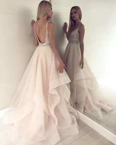A Line V Neck Backless Light Champagne Prom Dress With Beading luxury beading long prom dresses, chic light champagne organza party gowns, modest backless long prom dresses for teens Pretty Dresses, Sexy Dresses, Evening Dresses, Black Prom Dresses, Elegant Dresses, Classy Prom Dresses, Denim Dresses, Backless Prom Dresses, 60s Dresses