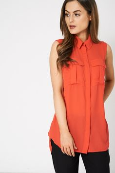 Buy Coral Collar Sleeveless Blouse for Women at Fashiontage. Shirt Blouses, Shirts, Sleeveless Shirt, Different Styles, Blouses For Women, Evening Dresses, Coral, Fashion Outfits, A4