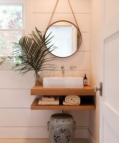 great for a small bathroom : mirror : floating shelves : sink
