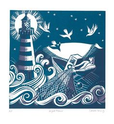 Linocut 'Night Fisher' by Sarah Young