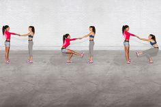 SELF EXCLUSIVE! Soccer Stars Sydney Leroux and Ali Krieger's New Nike Training Club Workout | Single Leg Squats: Partners start by facing each other holding a mini band. Partner 2 stands on left leg and squats. Partner 1 stands feet hip width apart and holds mini band tight. Partner 2 returns to standing position. Partner 1 repeats.