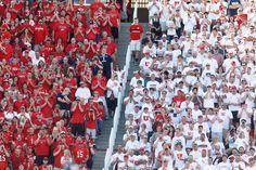 Utah fans as the University of Utah hosts Utah State. Striped stadium. #GoUtes!