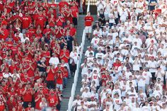 (Trent Nelson  |  The Salt Lake Tribune)  Utah fans as the University of Utah hosts Utah State. Striped stadium.
