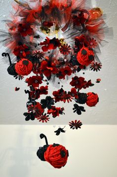 Floating LadyBug Mobile Black/Red, Nursery Decor, Baby Shower