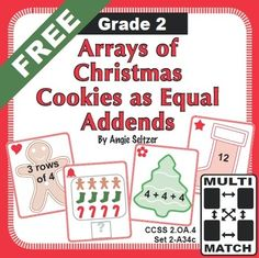 This FREE set of cards has a Christmas theme and will help students represent arrays as equal addends. FEATURES 36 math cards as 9 groups of four cards, one from each of four suits.  Handy game instruction cards and a card storage pocket. A recording sheet for students to draw arrays and write equal addends.